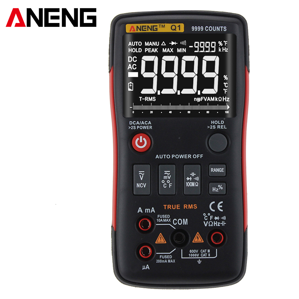 True-RMS Digital Multimeter Auto Button 9999 Counts With Analog Bar Graph AC/DC Voltage Ammeter Current Ohm Transistor Tester Q1 zoyi true rms digital multimeter button 9999 counts with analog bar graph ncv multi tester ac dc voltmeter ammeter auto manual