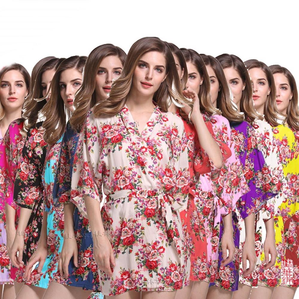 Nueva llegada de la manera del algodón floral robe mujeres novia ...