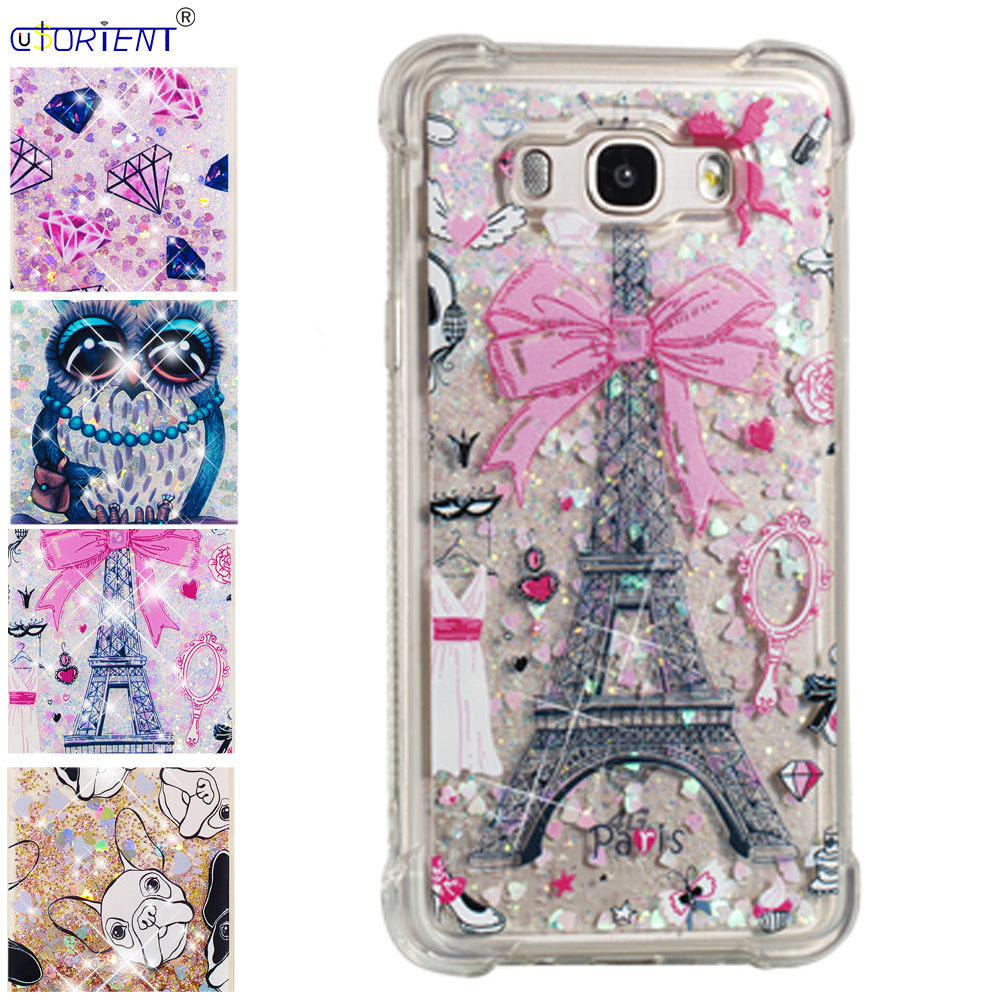 Half-wrapped Case For Samsung Galaxy J7 2016 J76 Bling Glitter Dynamic Liquid Quicksand Bumper Case Sm-j710f Sm-j710fn/ds Silicone Phone Cover