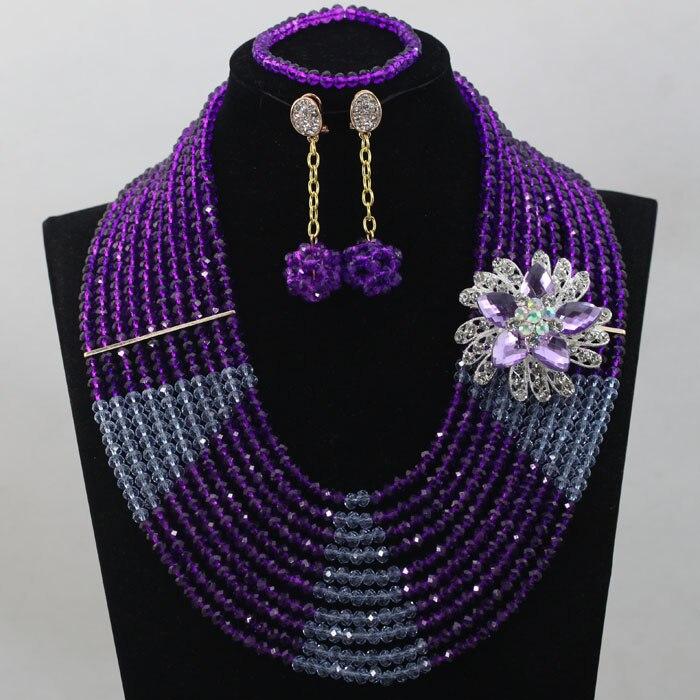 Hot Sale Purple Nigeria Beads Jewelry Set Unique Design Wedding Jewelry Set Free Shipping hx295