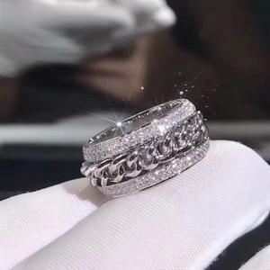 Image 3 - Bague en zircone CZ, blanche claire et rotative pour mariage, superbe, bijou de luxe nouveauté en argent Sterling 925, pour femmes, superbe