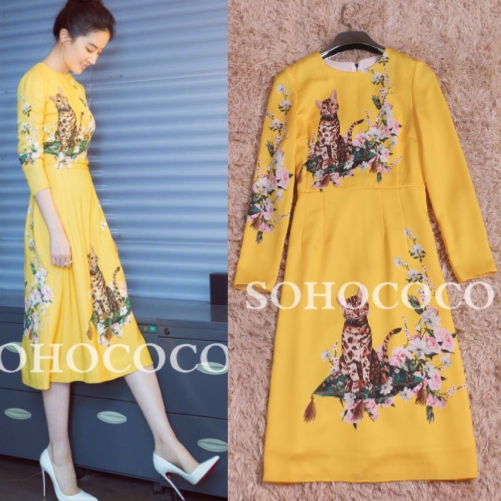 nette gelb kleidung cat pic herbst reich gerade Hei mode er o verkauf langarm als frauen neck print dress 34Rq5jAL