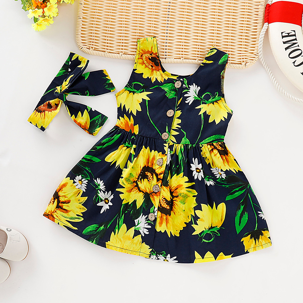 MUQGEW Summer Baby Girl Clothes Toddler Baby Girls Sleeveless Sunflower Print Dress+Headband Outfits Dropshipping Roupa Infantil