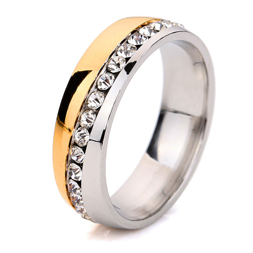 free shipping Wholesale Two Color Plated 316L Stainless Steel .1CT Channel-Set Crystal Ring for women or Men
