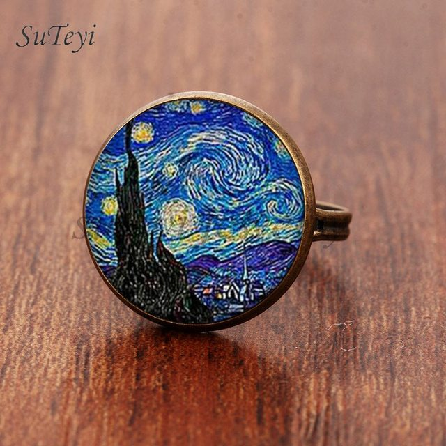 SUTEYI Classic Round Glass Rings Art Painting Adjustable Ring The Starry Night b