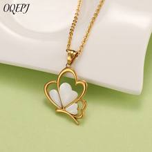 OQEPJ Trendy Charm Butterfly Shell Necklaces Pendant 316L Stainless Steel Gold Silver Color For Women Simple Insect Je