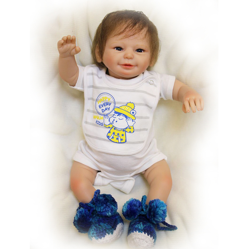 22'' Smile Baby Dolls with Woolen Shoes Handmade Safe Silicone Touch Soft Reborn Baby Doll 55cm Kits Toy Birthday Gifts For Sale smile reborn girl with blue dress 22 lifelike baby dolls soft silicone fashion kids toy xmas gifts reborn baby doll for sale
