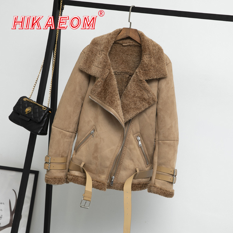 Suede   Fur   Leather   Coat Loose Winter Thick Plus Velvet Big Collar Warm Jackets Motorcycle Faux Sheepskin Shearling Street Coats