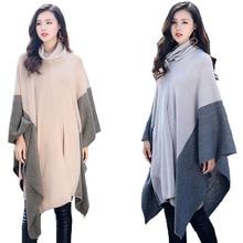 Осеннее и зимнее Новое Женское теплое пальто с воротником-хомутом элегантное женское лоскутное пальто асимметричное вязаное пальто накидки размера плюс