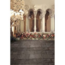 Glittering Gold Photography Backdrop Vintage Palace Brilliant Staircase Wedding Party Backdrops for Photo Studio