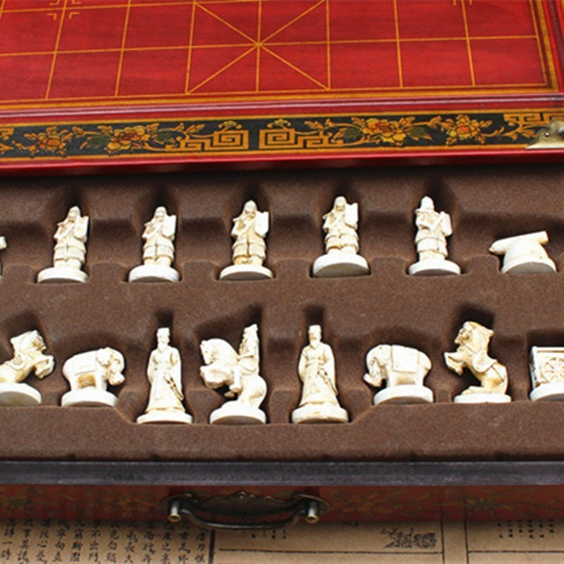 Antique Three Dimensional Chinese Chess Terracotta Warriors Chinese Chess Nostalgic Desktop Wooden Chessboard Medium Yernea