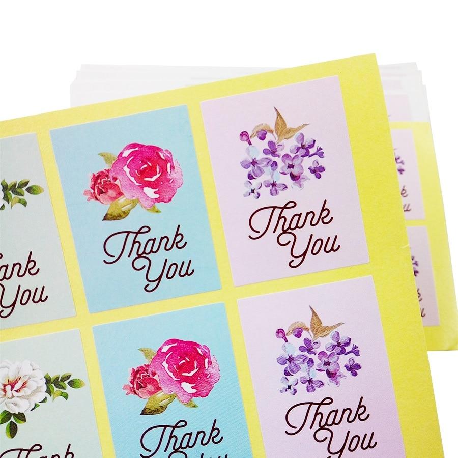 80 Pcs/lot Vintage Thank You Flower Design Label Sticker DIY Hand Made For Gift Cake Baking Scrapbooking Sealing Sticker