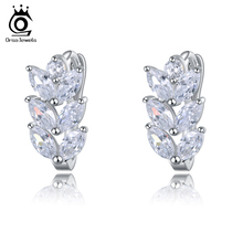 ORSA JEWELS Leaf Style Marquise Cut AAA Austrian Clear Zircon Women Fashion font b Earring b