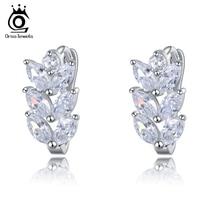 ORSA Leaf Style Marquise Cut AAA Austrian Clear Zircon Women Fashion Earring Stud OME03