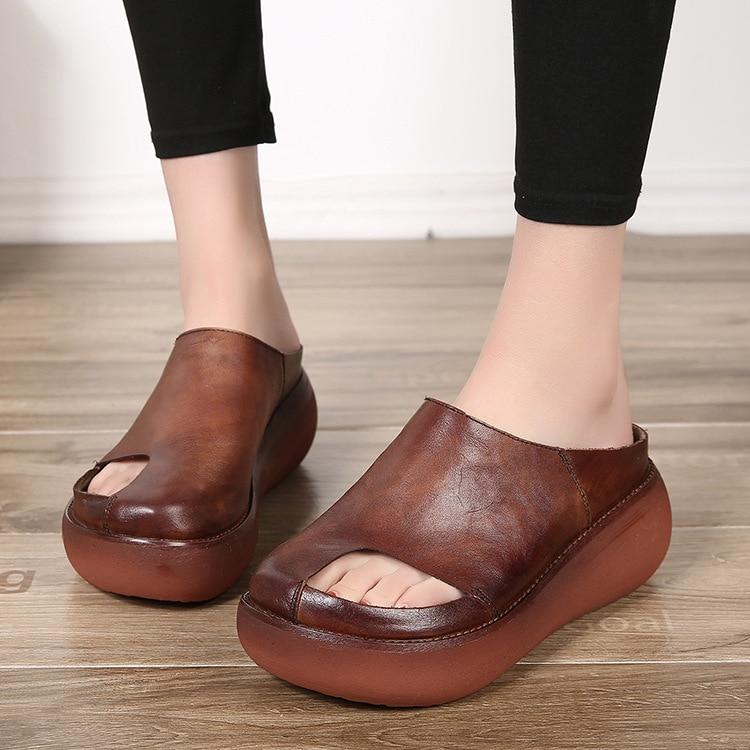 Chaussures Talons Noir marron Cales Pantoufles Hauts Occasionnels Croissante Plate Femmes forme Hauteur D'été En Cuir Aa51699 Découpes À HEWYD9I2