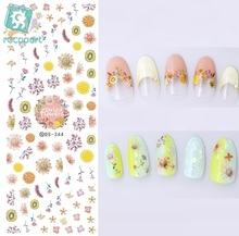 Rocooart DS344 Water Transfer Nails Art Sticker Harajuku Elements Pink Dried Flowers Nail Wraps Sticker Manicura Decal