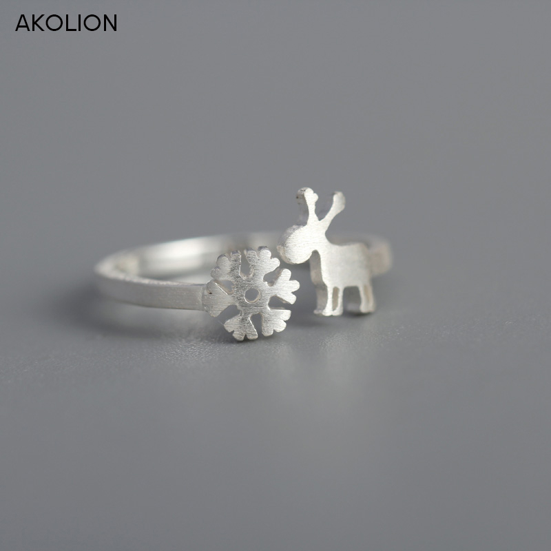 AKOLION New Fashion Silver Cute Snowflake Fawn Deer Rings For Girls Women Christmas Gift font b