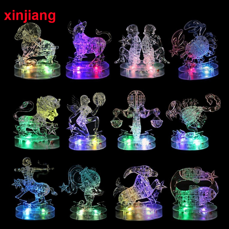 Assembly Horoscope 3D Crystal Puzzle Flashing LED Light Kids 12 Constellations Horoscope Jigsaw Puzzle Toys For Kids Gifts }