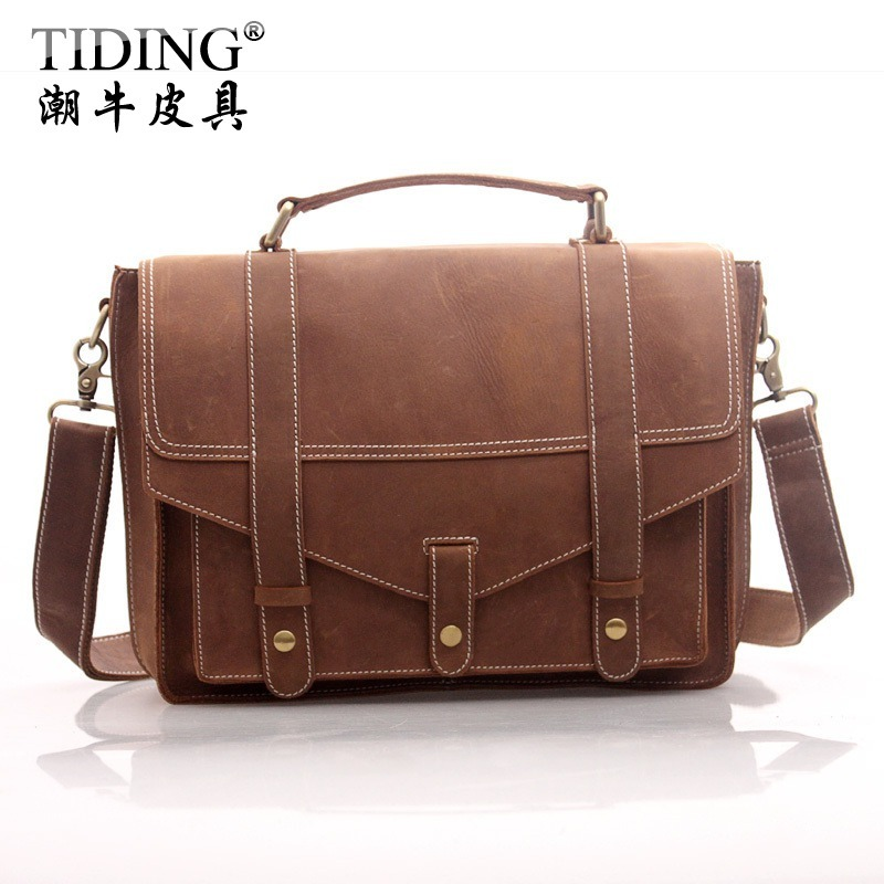 High Quality Cattle first layer of cowhide male briefcase Laptop Tote  bag messenger bag crazy horse leather messenger bag 1007