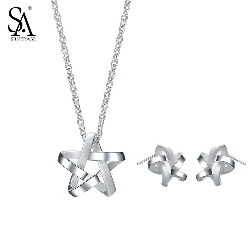 SILVERAGE Genuine 925 Sterling Silver Fine Jewelry Weaved Star Jewelry Sets Stud Earrings Pendant Necklace Women 2017 Hot Sale sa silverage genuine 925 sterling silver fine jewelry for women stud earrings black 2018 hot sale
