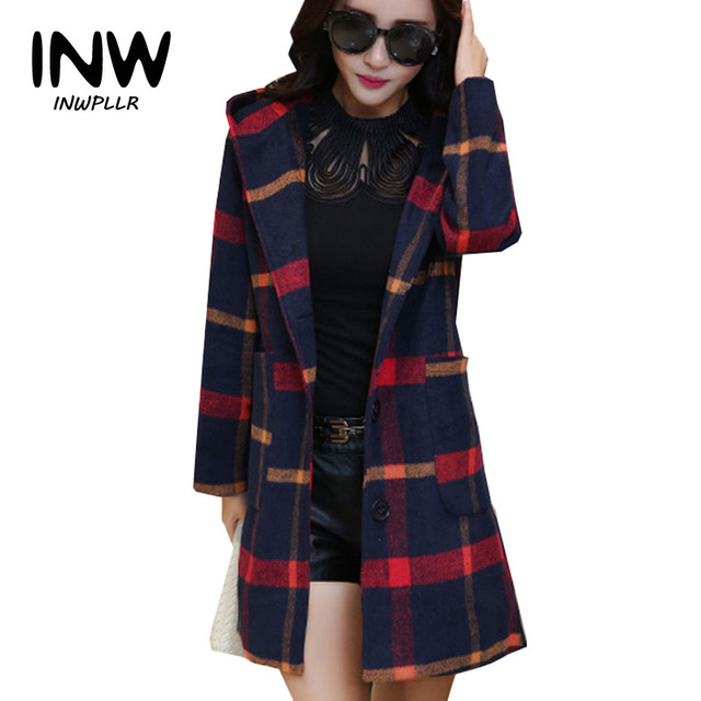 2141724132f 2019 Autumn Winter Women Coat Chaquetas Mujer Hooded Plaid Jackets Femme Single  Breasted Woolen Coats Plus