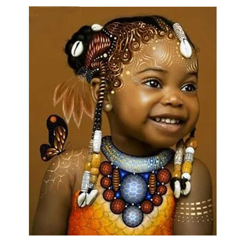 5d Diy Diamond Embroidery African Butterfly Girl Mosaic diamond painting full of square / round cross stitch Pattern art home de