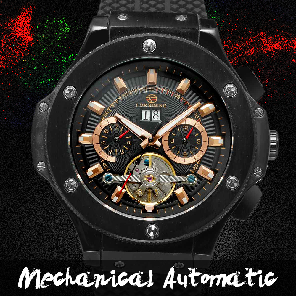 FORSINING Brand Sport Watches Men Chronograph Silicone Black Men Wrist Watch Cross Country Military Watch gt watch uas flag f1 racing champion sport extreme men s military pilot uhren american inspired novelties silicone watch