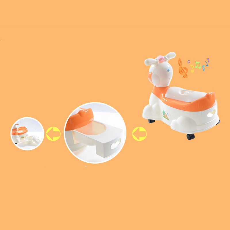 Childrens Toilet Baby Potty Cartoon Cute Rabbit Musical Travel Kids Plastic Comfortable Training Childrens Drawer Type Extra Toilet with Wheel Color : Orange