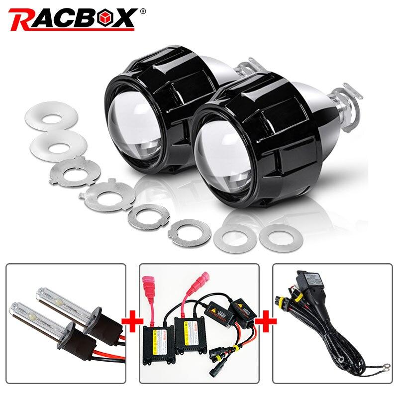 RACBOX 35W 2.5 Inch LHD RHD Bi-xenon HID Projector Lens H4 H7 Auto Headlight Set 4300K 6000K 8000K For Retrofit Car Headlight zt01 2 5 35w 3000lm 4300k hid angle eyes projector lens car xenon light silver pairs