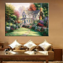 Nice Quality Housewarming Gifts Thomas Kinkade Cottage in Spring Garden Landscape Reproduction Art Painting Canvas Prints