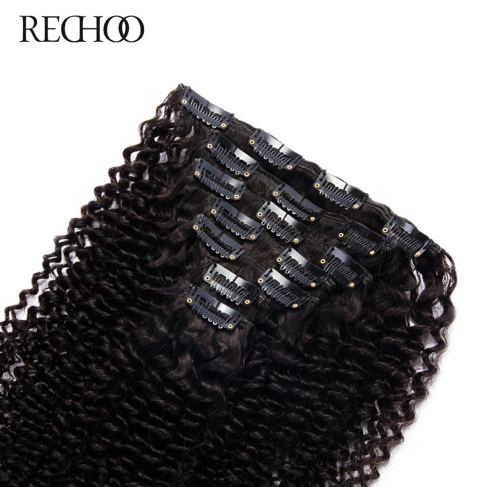 Rechoo African American Kinky Curly Clip Në Zgjatjet e Flokëve Jo - Flokët e njeriut (të bardha) - Foto 3