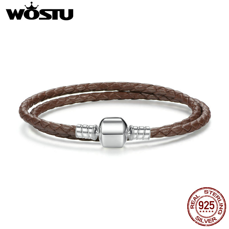 100% 925 Sterling Silver & Two Circle Genuine Leather Brown Rope Chain Charm Fit Pan Bracelet For Women Men Jewelry ZBBS909