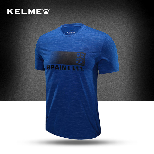 KELME Men's Running Shirts Fast Cool Training T Shirt Short Sleeve Cotton  Shirt At Dry Outdoor Sports Tops Tees 3681037 -in Running T-Shirts from