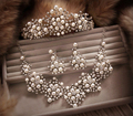 2016 New Fashion Magnificent Ivory Pearl Bridal Jewelry set Tiara+Necklace+Earrings Rhinestone Wedding jewelry sets for Women