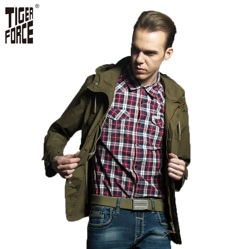 TIGER FORCE 2018 Plus Size Men Trench Coat Army Fashion Casual Jacket Mens Hooded Trench Coat Russian Style Free Shipping 31315A new men s military style casual fashion canvas outdoor camping travel hooded trench coat outerwear mens army parka long jackets