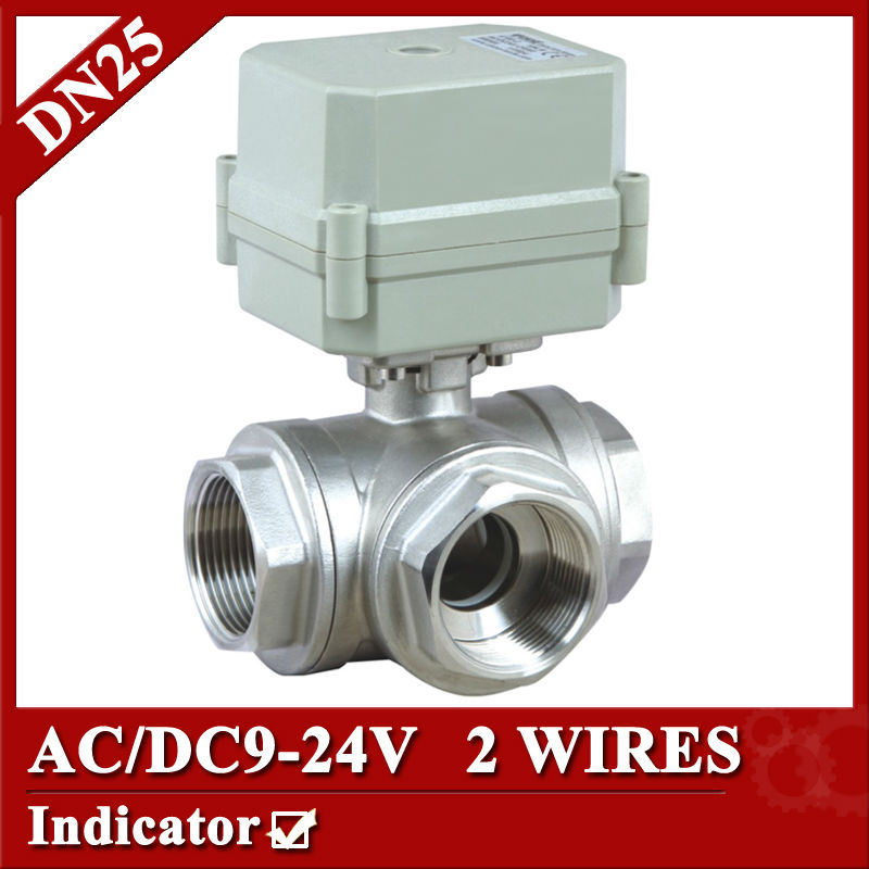 1 AC/DC9-24V electric motorized valve, DN25 2 wires(CR202) Electric motor valve 3way T type/ L type  for choice 1 2 dc24vbrass 3 way t port motorized valve electric ball valve 3 wires cr301 dn15 electric valve for solar heating