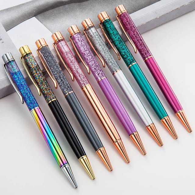 1Pc Rotate Pens Luxury Quicksand Ballpoint Pens Kawaii Gradient Ball Pens For Writing School Office Supplies Novelty Stationery