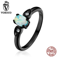 VOROCO Fine 100 Genuine 925 Sterling Silver Simple Oval Shape Opal Finger Ring For Women Wedding