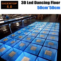 Gigertop 50cm*50cm Led 3D Dance Floor with Floor Dance Controller 110V 240V RGB 3IN1 Color LED Mirror Space Tunnel Floor