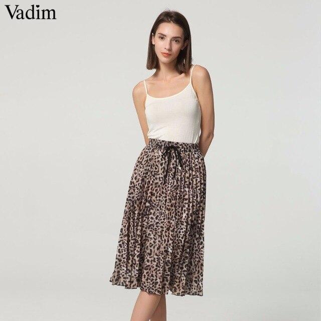 Vadim femmes élégant imprimé léopard jupe plissée serpent faldas mujer Cordon cravate élastique taille casual mi-mollet jupes BA108