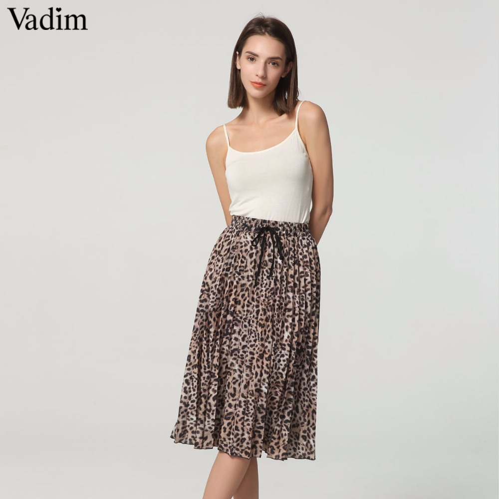 Vadim Women Stylish Leopard Print Pleated Skirt Snake Faldas Mujer Drawstring Tie Elastic Waist Casual Mid Calf Skirts Ba108