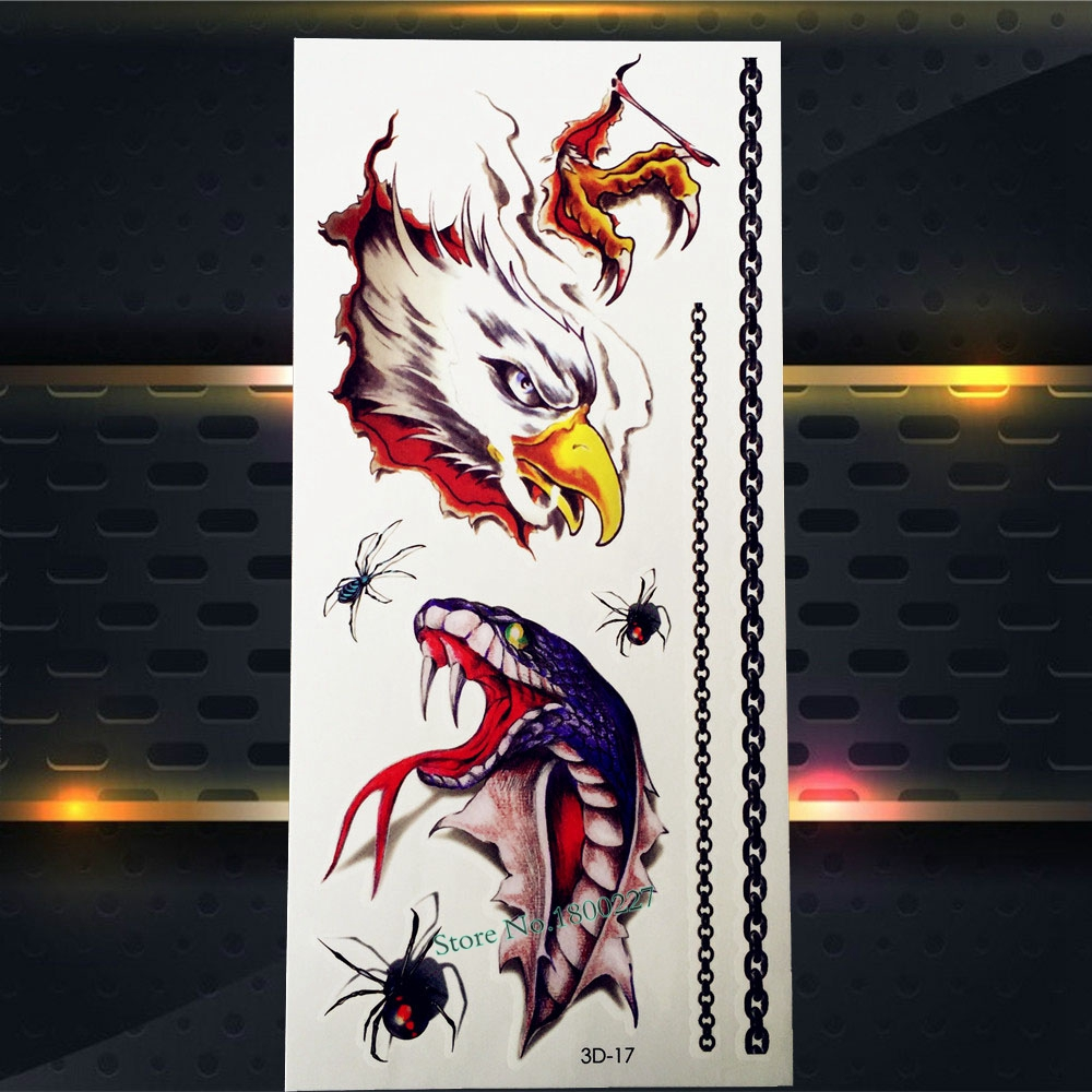 1PC 3D Eagle Vs Snake Head Temporary Removable Tattoo Kids Body Art Arm Cartoon Tatoo P3D-17 Cool Shoulder Hands Tattoo Stickers