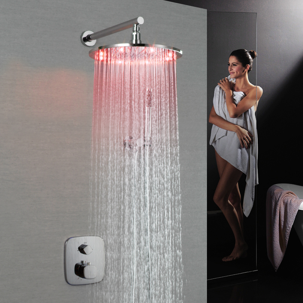 SKOWLL Bathroom Faucets Accessories Round LED Shower Head with Thermostatic Valve Mixer SK 7627
