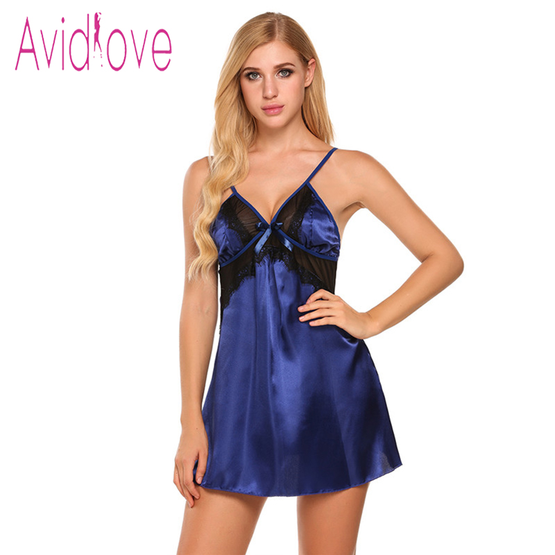 eb6956731e Avidlove Satin Nightgown Women Strap V neck Satin Sleepwear Nightwear Sexy  Lace Babydoll Chemise Slik Sleepshirt Nightdress-in Nightgowns    Sleepshirts from ...
