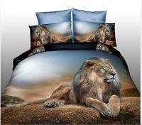 3d животное комплект постельных принадлежностей тигр/Лев одеяло/Doona простыней наволочки 4 шт. queen size бархатистой постельное белье