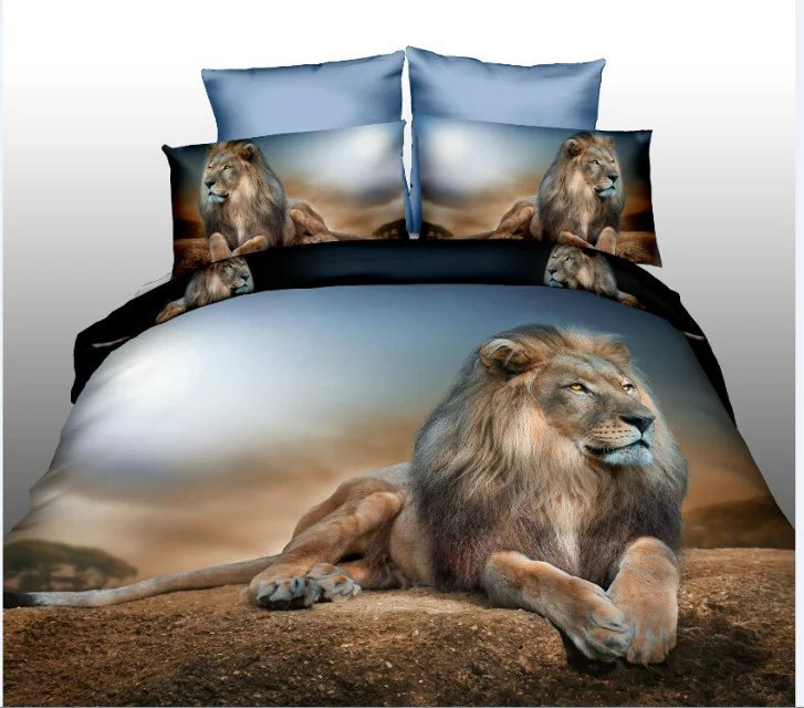 3d ensemble de literie pour animaux tigre/lion couette/doona couverture drap de lit taie d'oreiller 4 pièces reine taille velouté literie