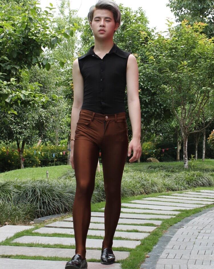 Calças com charme elástica masculinas, calças seda,