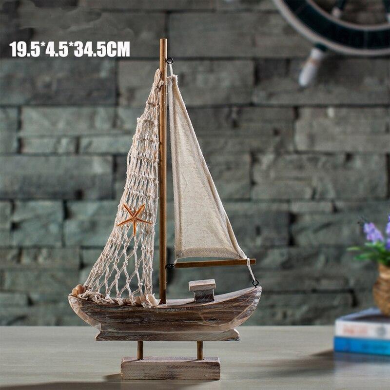Yeni Ev Mobilya Akdeniz Retro Yelkenli Ahşap Tekneler Modeli - Ev Dekoru - Fotoğraf 5