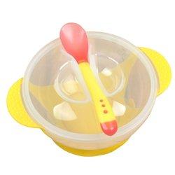 Для маленьких детей Кормление крышкой обучение глубокая тарелка с ложкой бинауральные для кормления посуда для детей силиконовая миска дл...
