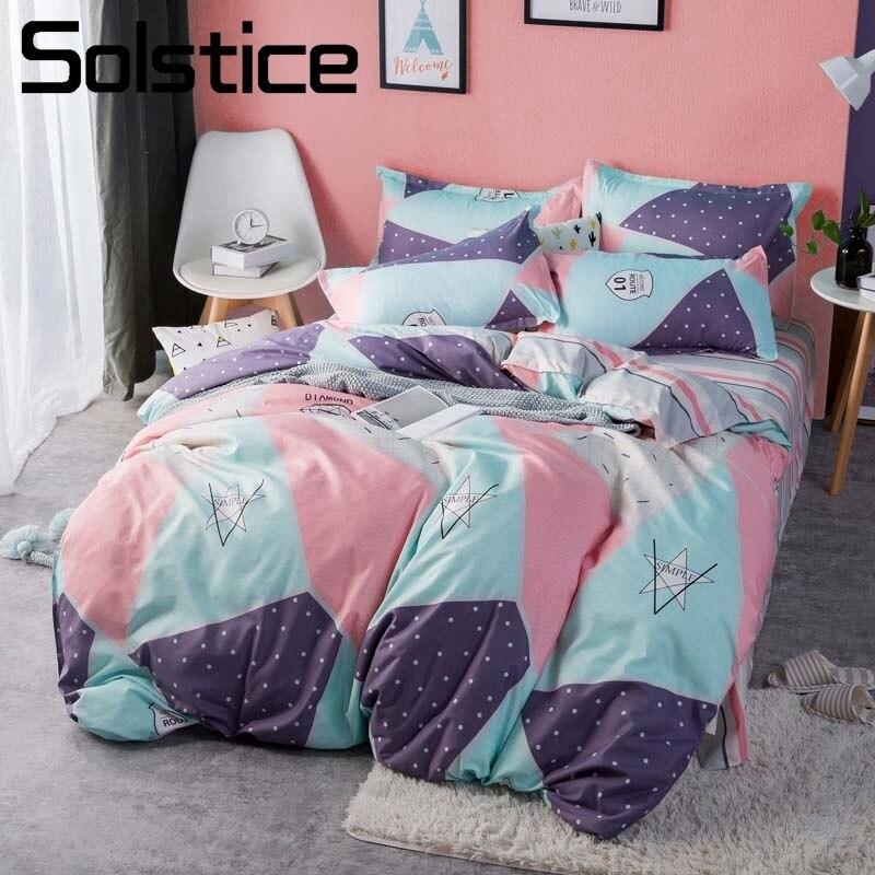 Solstice Home Textile Kids Teen Bedding Sets King Queen Size Bed Linen 3/4Pcs Duvet Cover Pillowcase Bed Sheet Geometric Sport